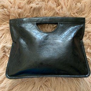 Roomy Black Clutch Bag - fun handle, print inside
